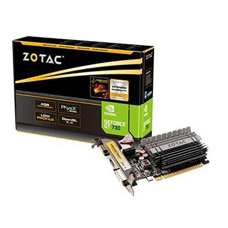 - Zotac Zt-71115-20l Geforce Gt 730 Graphic Card - 902 Mhz Core - 4 Gb Ddr3 Sdram - Pci Express 2.0 X16 - 1600 Mhz Memory Clock - 64 Bit Bus Width - 2560 X 1600 - Passive Cooler - Directx 12, (160407)