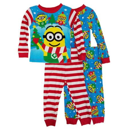 Despicable Me Toddler Boys 4-Piece Christmas Minions Sleepwear Pajama Sets  - Size - 2T - Pj & Me