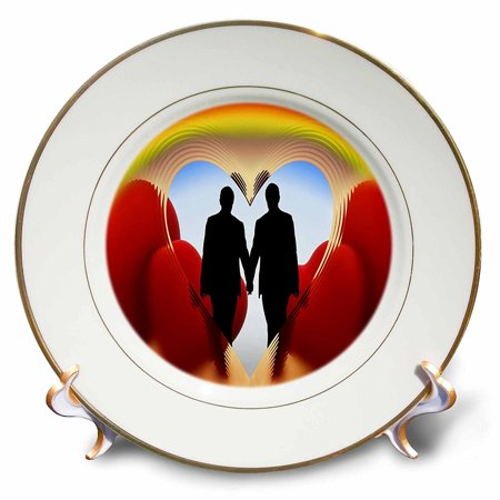 3dRose Print of Gay Couple With Rainbow And Hearts, Porcelain Plate, - Rainbow Cups And Plates