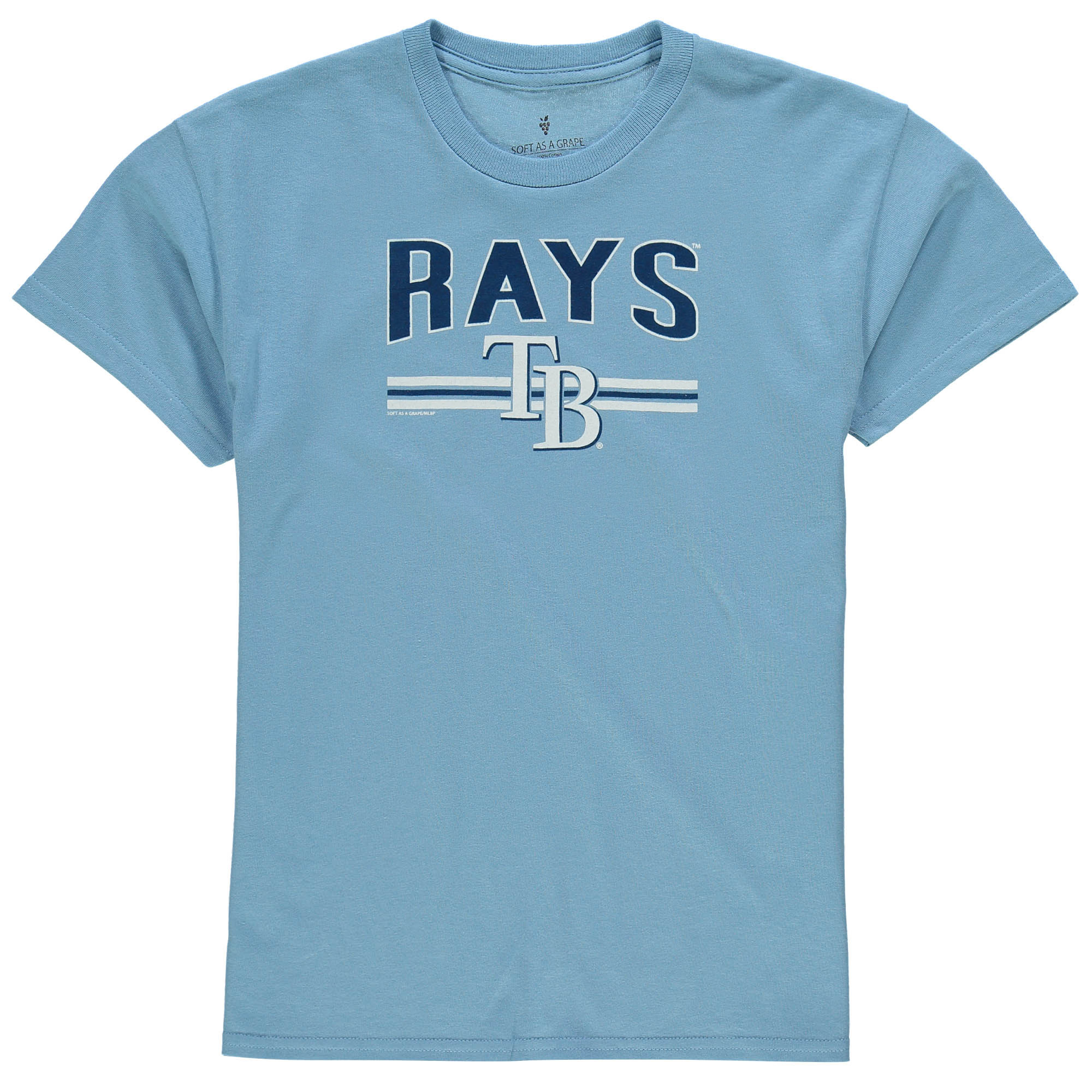 Tampa Bay Rays Soft as a Grape Youth On Base Crew T-Shirt - Light Blue