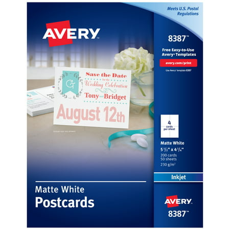 Avery Printable Cards, Inkjet Printers, 200 Cards, 4.25 x 5.5, U.S. Post Card Size