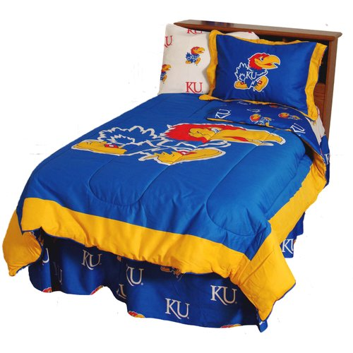 Kansas Jayhawks 2 Pc Comforter Set, 1 Comforter, 1 Sham, Twin