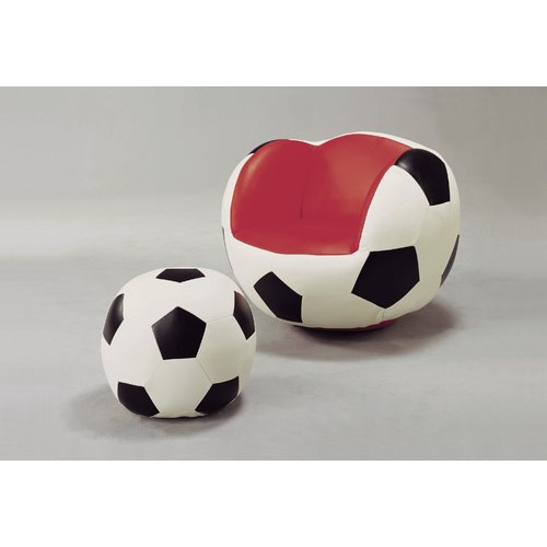 Crown Mark Soccer Kids Faux Leather Chair and Ottoman