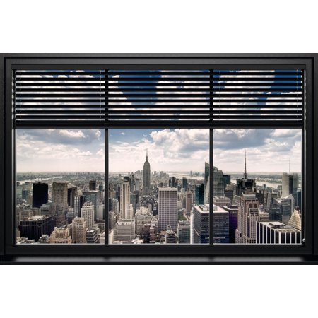 New York Windows Blind Photo Art Print Poster 36x24 inch (Art Com Blinds)