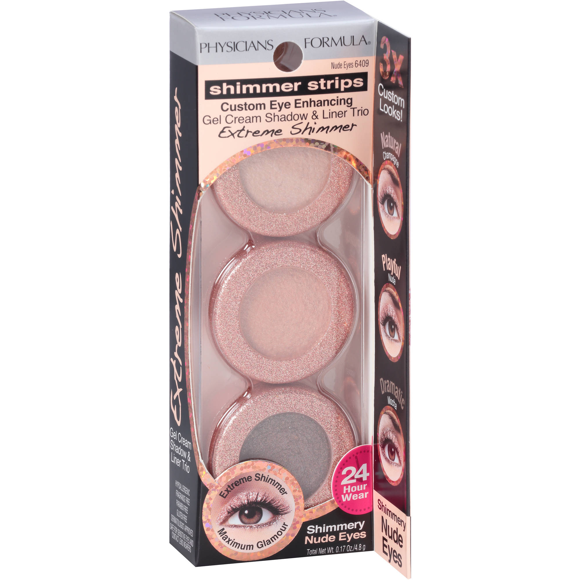 Physicians Formula Shimmer Strips Custom Eye Enhancing Gel Cream Shadow & Liner Trio, 6409 Nude Eyes, 0.17 oz
