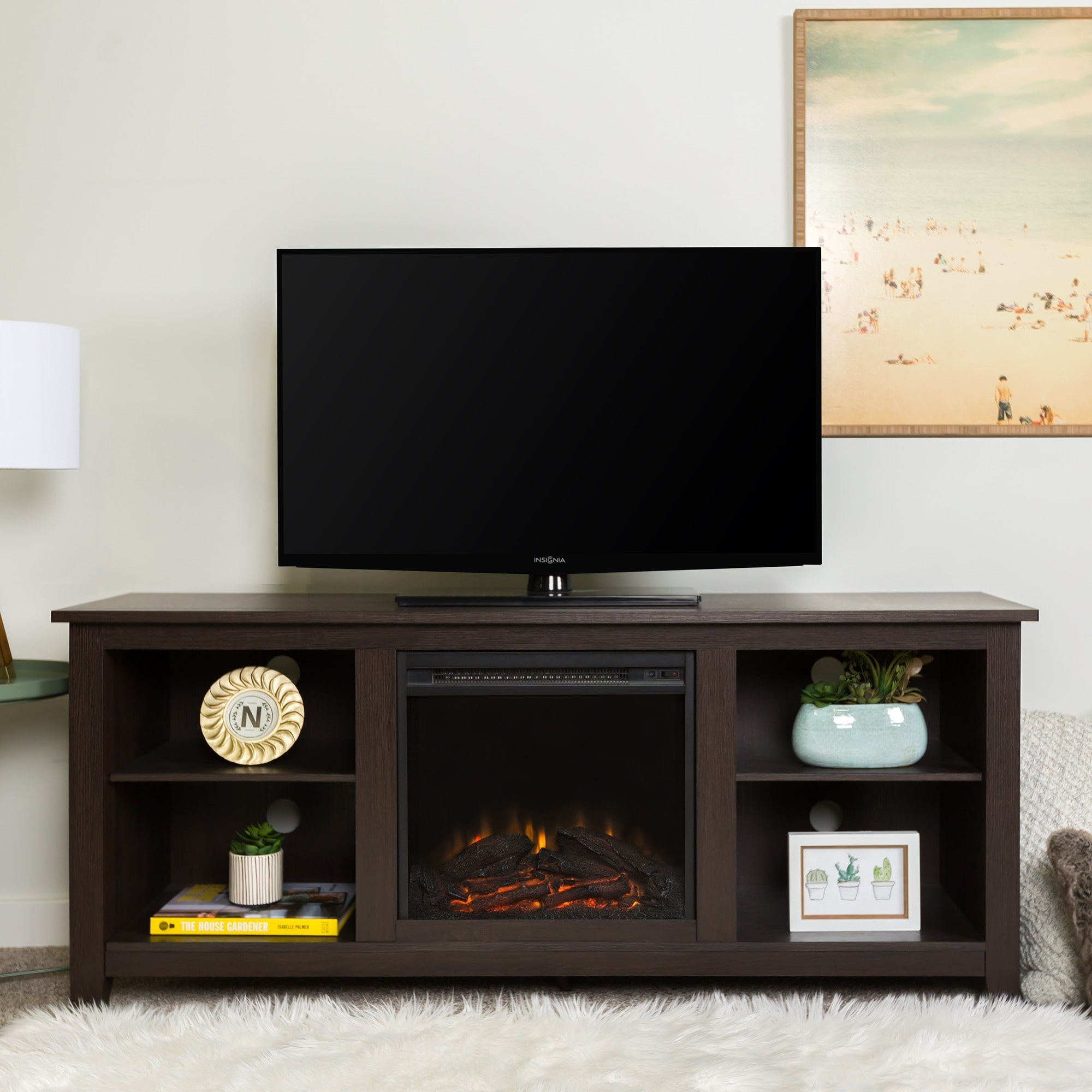 we furniture 58 inch electric fireplace tv stand in espresso