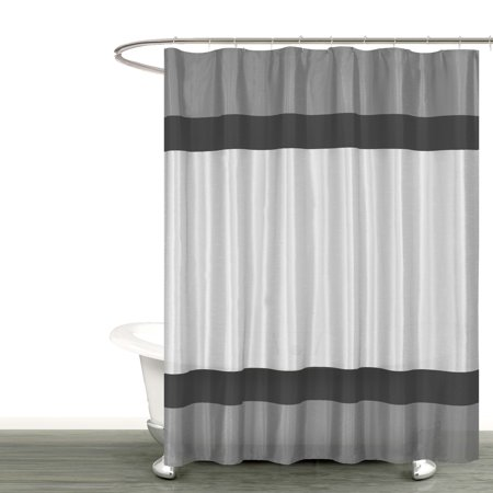 Gray Silver And Black Fabric Shower Curtain With Stripe Design Bathroom More Collection