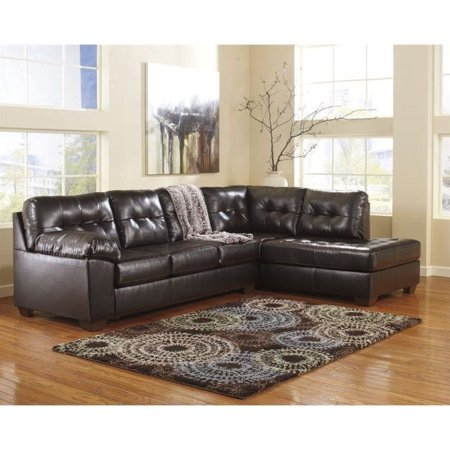 Ashley Furniture Alliston 2 Piece Leather Sectional Sofa in Chocolate