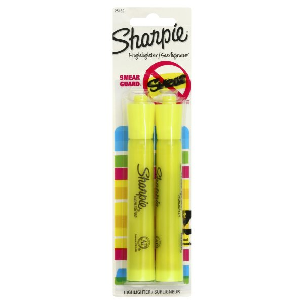Sharpie Fluorescent Yellow Chisel Highlighter, 2 highlighters