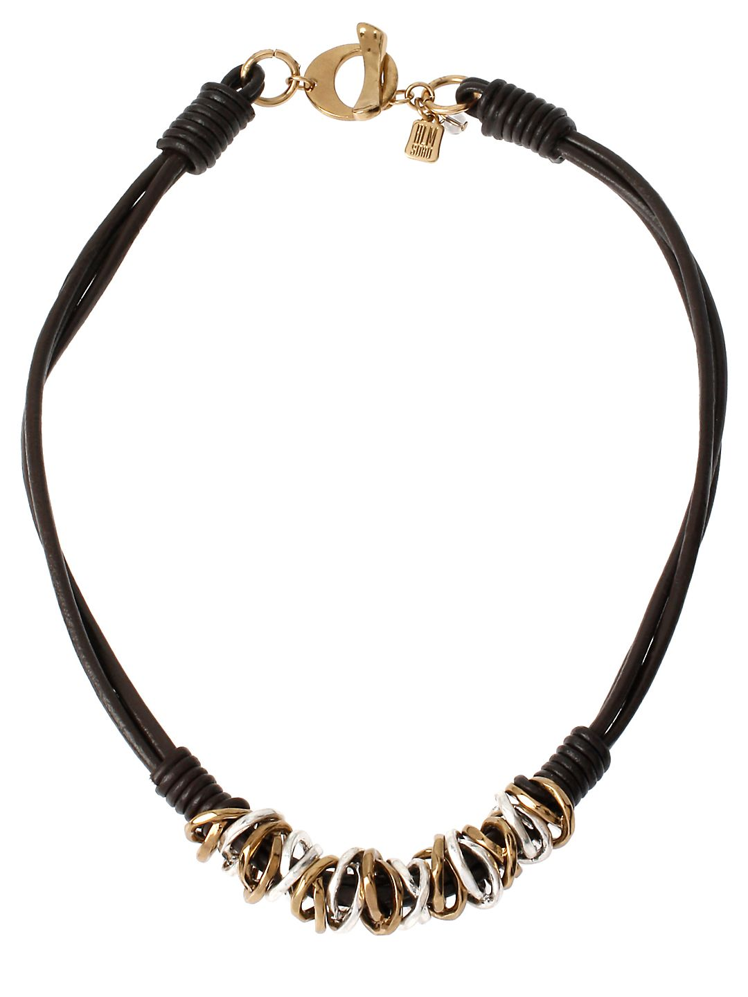 Atlantis Two-Tone Ring and Leather Necklace