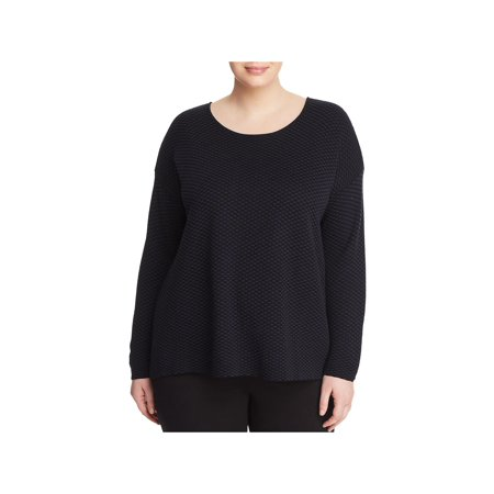 Eileen Fisher Womens Plus Round Neck Jacquard Pullover Sweater ()