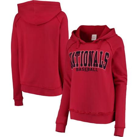 Washington Nationals 5th & Ocean by New Era Women's Defense Raglan Pullover Hoodie - Red