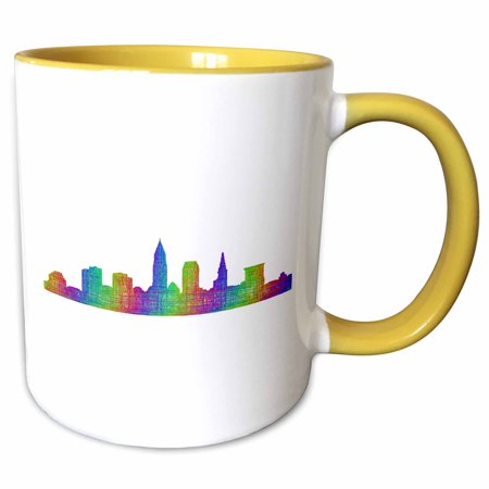 3dRose Cleveland City Skyline - multicolor line art - Two Tone Yellow Mug, (Colours For Yellow Skin Tone)
