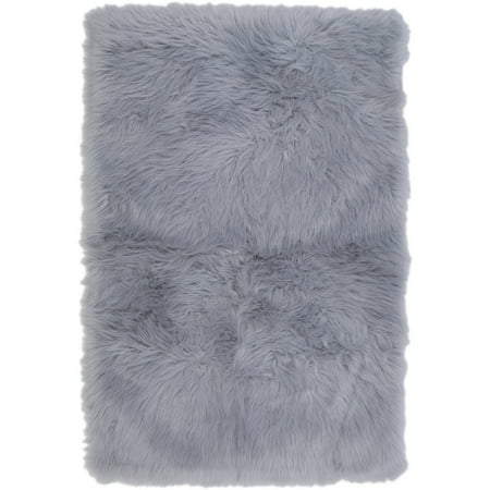 Your Zone 2 6 Quot X 3 10 Quot Gray Fur Flokati Accent Rug