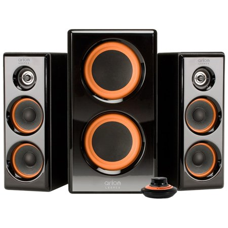 arion legacy powered 2 1 speaker system with dual. Black Bedroom Furniture Sets. Home Design Ideas
