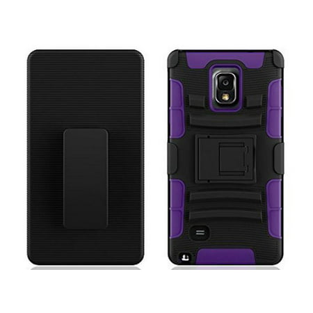 Galaxy Note 4 Case, Full Body Armor [Built-Kickstand] Hybrid Tri-Layer Shock Resistant Case Cover - Purple (Galaxy Note 4 Case Otterbox Armor)