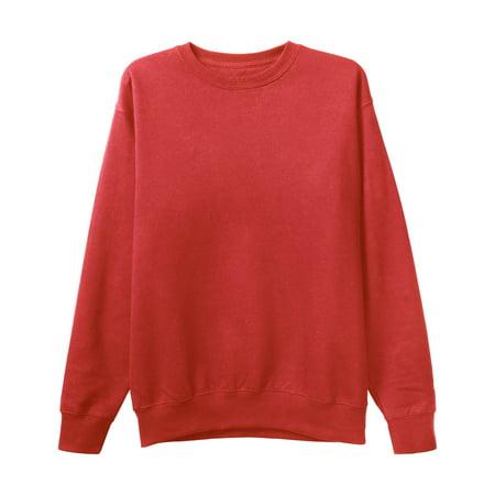 Mens Premium Crewneck Sweatshirt Basic Casual Fleece (Mens Chaps Crewneck Sweater)