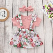 3Pcs Newborn Baby Girls Kid Tops Romper Floral Skirt Outfits Set Clothes Pink 18-24 Months