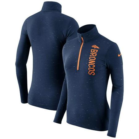 Denver Broncos Nike Women's Element Half-Zip Wordmark Performance Jacket - Heathered