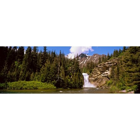 Waterfall In A Forest Eagle Falls Two Medicine Valley Us Glacier National Park Montana Usa Canvas Art   Panoramic Images  27 X 9