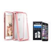 BasAcc Clear Crystal Hard Case Cover with Pink TPU Bumper for Apple iPhone 7 (+ Clear Screen Protector)