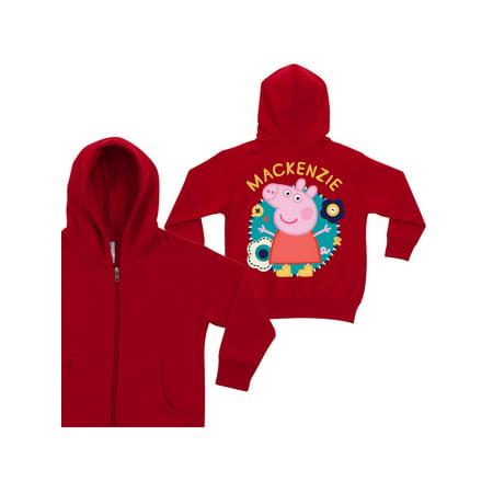 Personalized Peppa Pig Flower Fun Red Toddler Girls' Zip-Up Hoodie - Flower Girl Sweatshirt