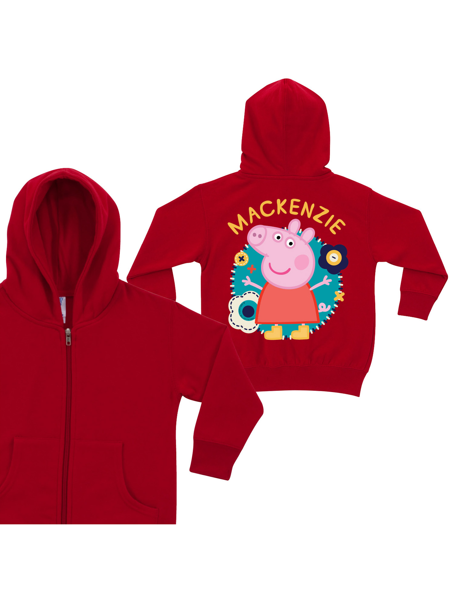 Personalized Peppa Pig Flower Fun Red Toddler Girls' Zip-Up Hoodie