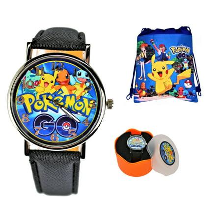 Pokemon Pikachu & Ash Quartz Analog Wrist Watch For Men Women Boys Girls.Fashion Large Modern Display.Luminous Watch Hands.