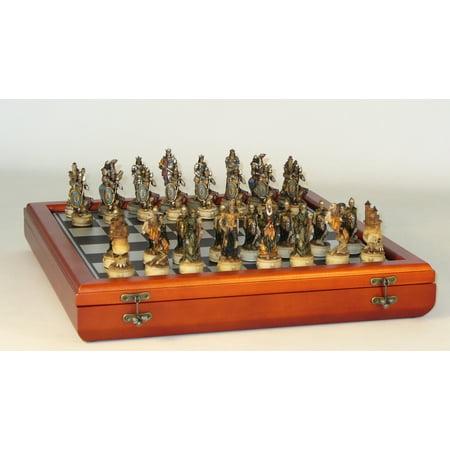 Skeleton Kings Resin Chess Set in Chest Bronze Metal Chess