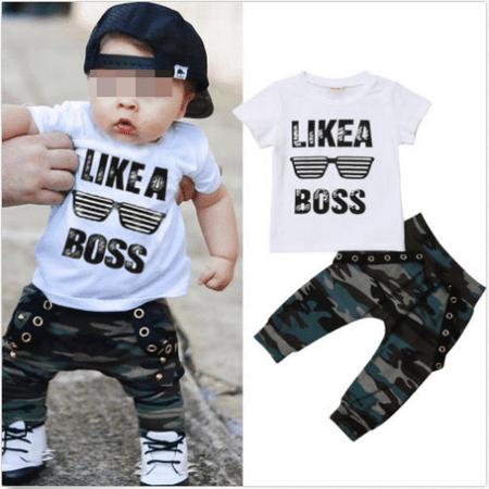 Toddler Baby Boys Hip Hop Tops T-shirt Camo Pants Outfits Set Clothes