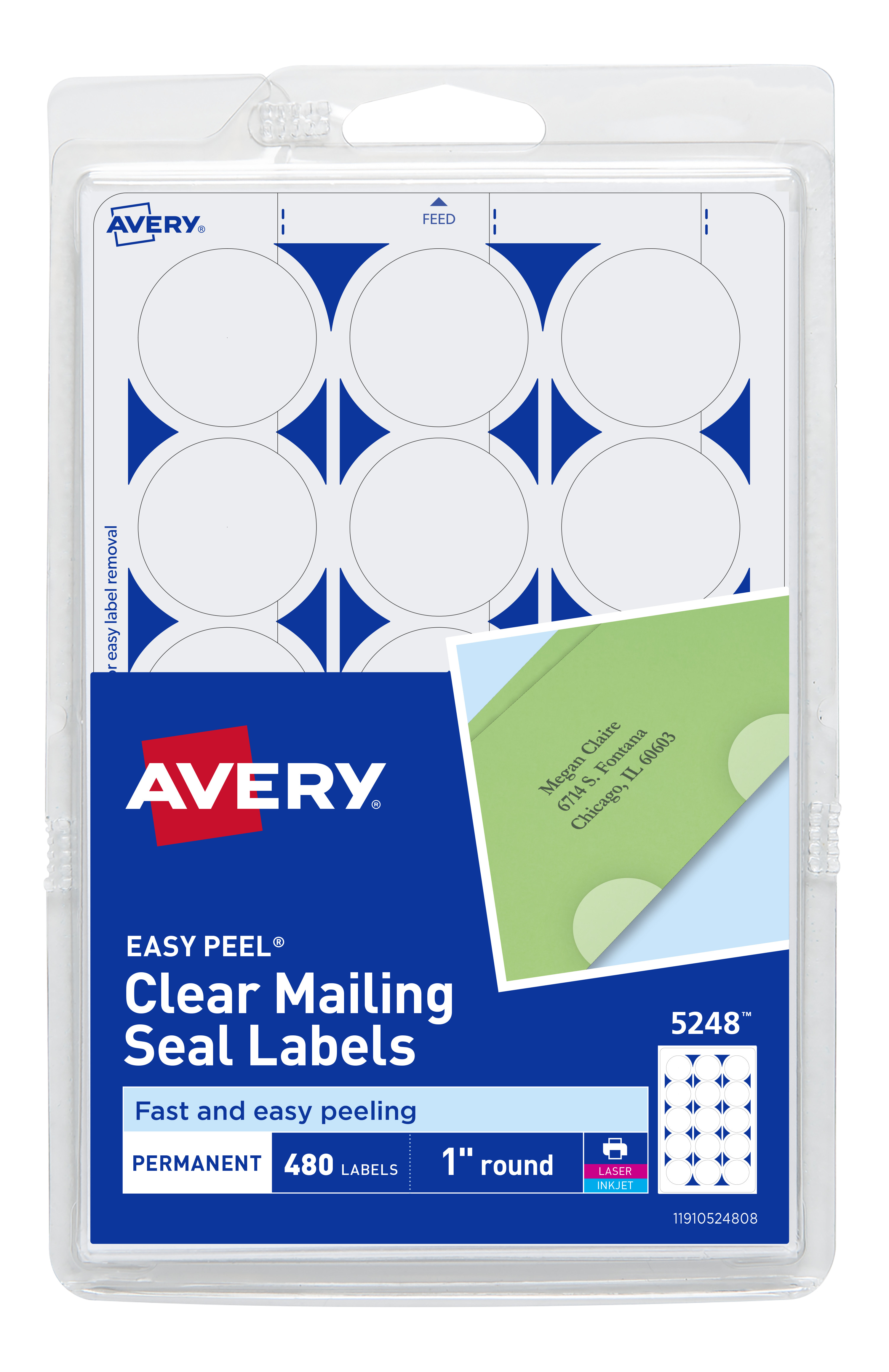 It is a picture of Genius Clear Mailing Seal Labels