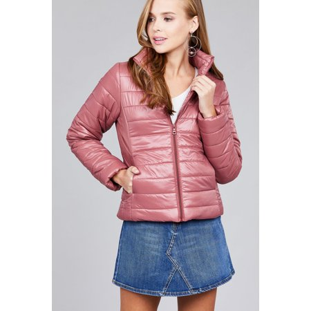 Cali Chic - Juniors' Jacket Celebrity Quilted Puffy Zip ...