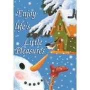 """Life's Little Pleasures Winter Snowman Decorative House Flag 28"""" x 40"""""""