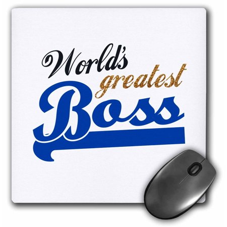 3dRose Worlds Greatest Boss - Best work boss ever - blue and gold text on white - fun office gifts, Mouse Pad, 8 by 8 (Best Mouse On The Market)