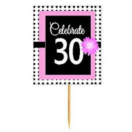 CakeSupplyShop Item#BPP-030 Happy 30th Birthday Pink w. Black Polka Dot Novelty Cupcake Decoration Topper Picks -12ct](Polka Dot Decorations Birthday)
