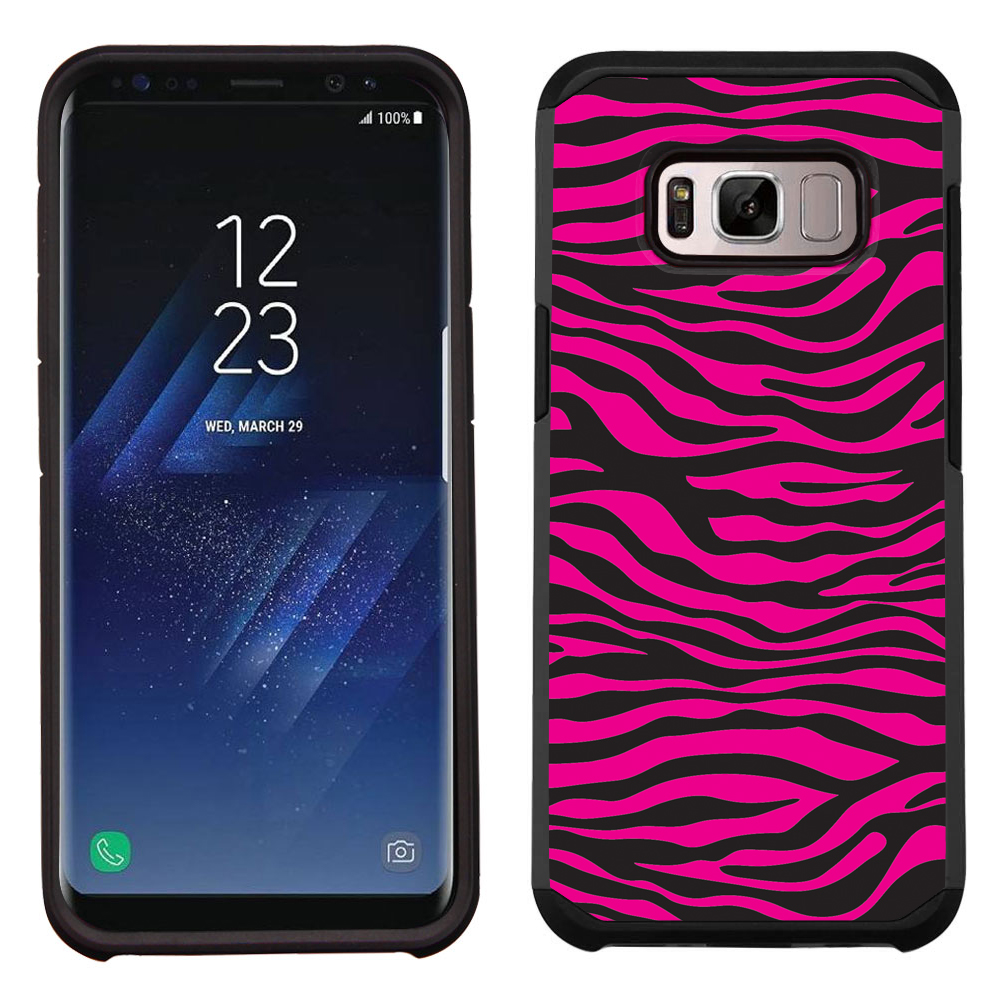 Hybrid Case for Samsung Galaxy S8 PLUS / S8+, OneToughShield ® Dual Layer Shock Absorbing Phone Case (Black/Black) - Zebra Pink