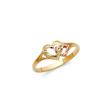 Womens Two Tone 14K Solid Gold Entwined Heart Ring, Size 7