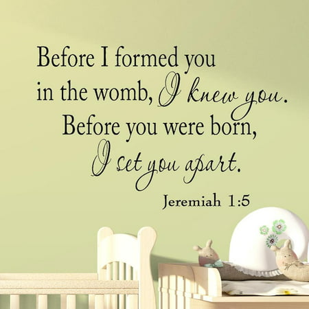 VWAQ Before I formed you in the womb I knew you. Before you were born, I set you apart. Jeremiah 1-5 Vinyl Wall Art Religious Home Decor Bible Scripture Quote Nursery Wall Decals ()