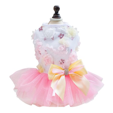 Unique Dog Costumes Ideas (Unique Bargains Small Dog Cat Dress Puppy Lace Princess Tutu Skirt Summer Costume Pink)