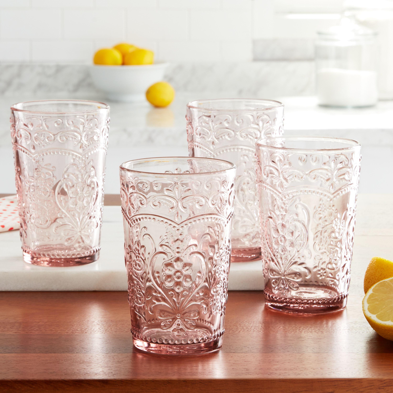 The Pioneer Woman Amelia 15 22 Ounce Rose Glass Tumblers Set Of 4 Walmart Com Walmart Com