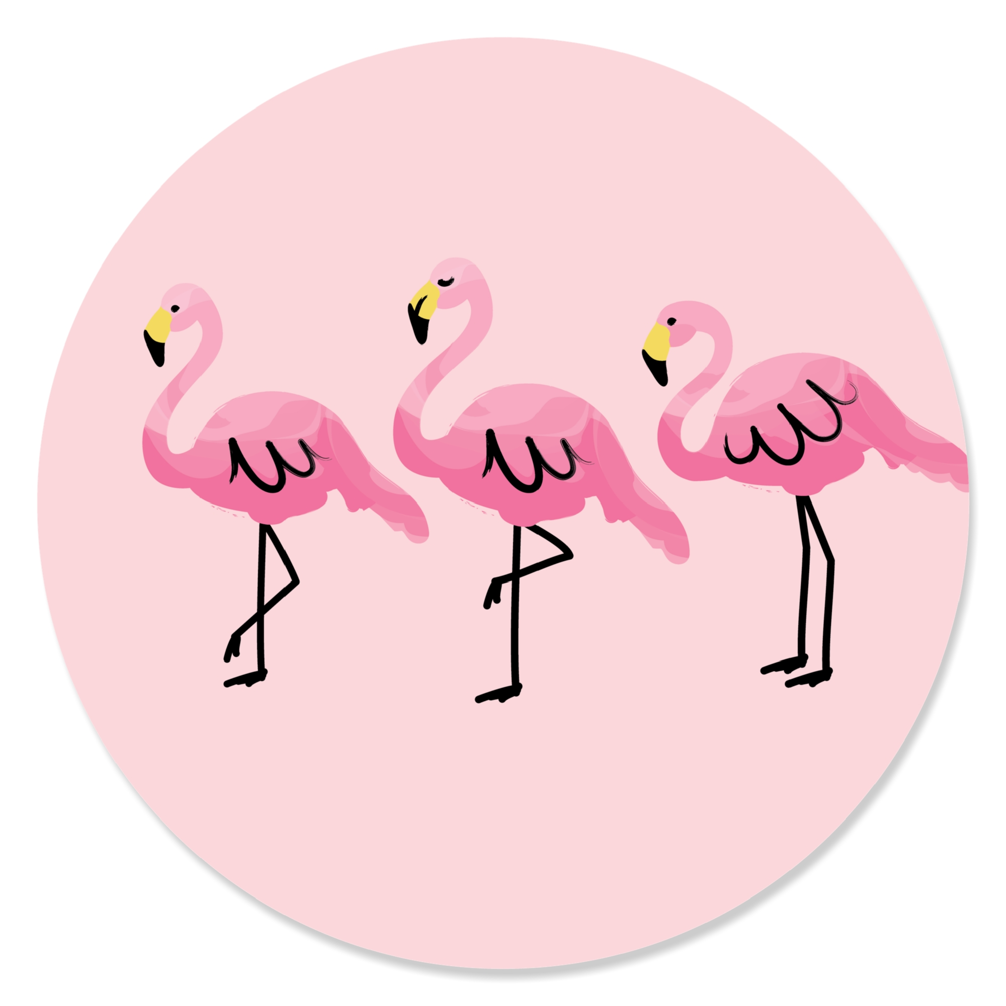 Pink Flamingo - Tropical Summer Party Circle Sticker Labels - 24 Count