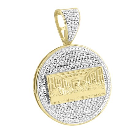 "Last Supper Medallion Pendant 10k Yellow Gold Christ 1.4"" Charm Real Diamonds"