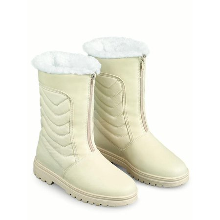 Zip Front Winter Snow Boot with Ice Grips Ice Winter Boots