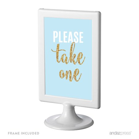 Signature Baby Blue, White, Gold Glittering Graduation Party, Framed Party Sign, Please Take One, 4x6-inch Double-Sided