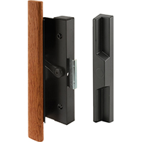 Prime-Line C 1126 Sliding Door Handle Set, Wood Handle, Black Aluminum/Diecast