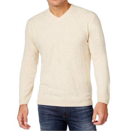 Weatherproof NEW White Ivory Men's Size XL Diamond V-Neck Sweater Ivory V-neck Sweater