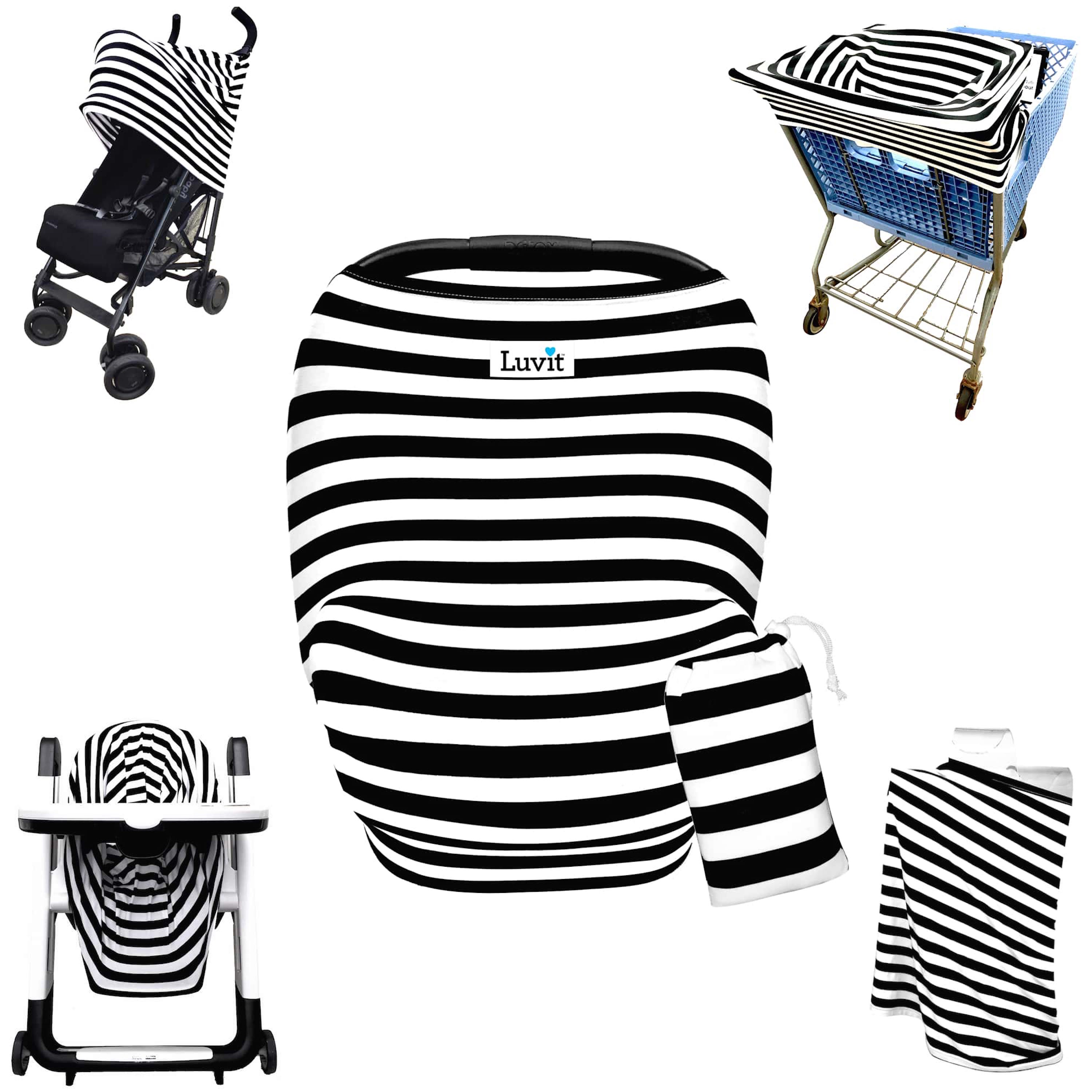 Luvit 5-in-1 Cover for Car Seats, Shopping Carts, High Chairs, Strollers and Nursing Moms in Black & White Stripes