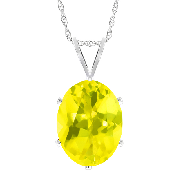 0.95 Ct Oval Shape Canary Mystic Topaz Sterling Silver Pendant