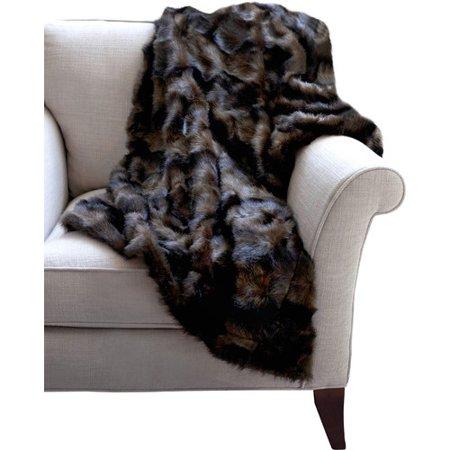 Mink Faux Fur Throw Chocolate Brown