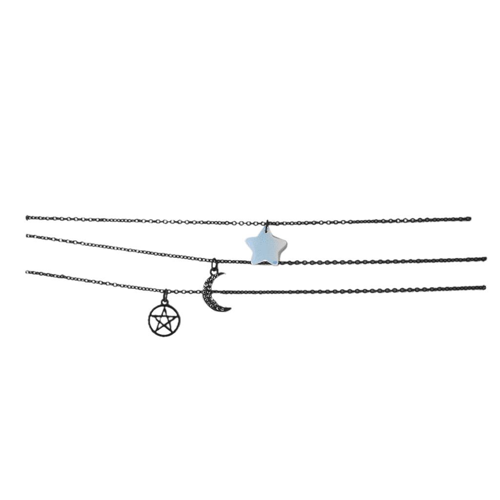 Lux Accessories Jet Black Celestial Opal Star Delicate Choker Necklace Set 3PCS by Lux Accessories